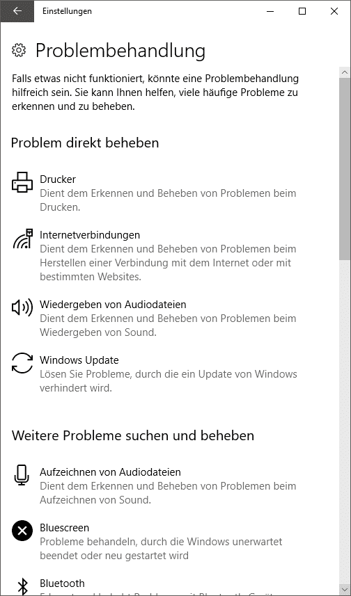 Windows-Problembehandlung
