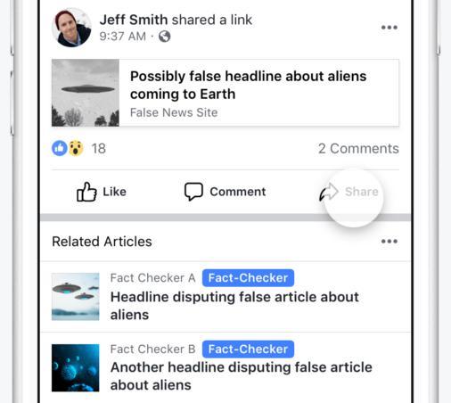 Facebook hatte Falschmeldungen mit einem deutlich sichtbaren Icon gekennzeichnet. Das fällt nun weg.