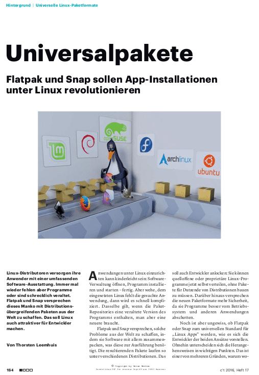 Ein seit heute kostenlos abrufbarer c't-Artikel hat sich Flatpak und Snap vor einiger Zeit näher angesehen.