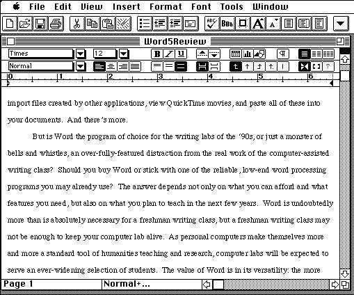 Word 5 auf dem Mac.