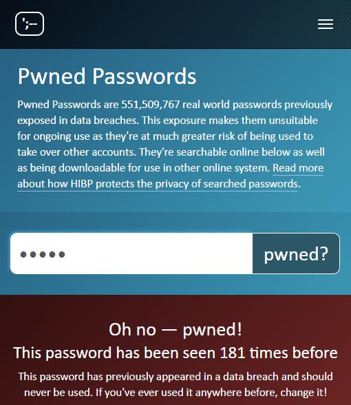 """Das Passwort """"Mutti"""" ist nicht besonders originell: Pwned Passwords meldet 181 Suchtreffer."""