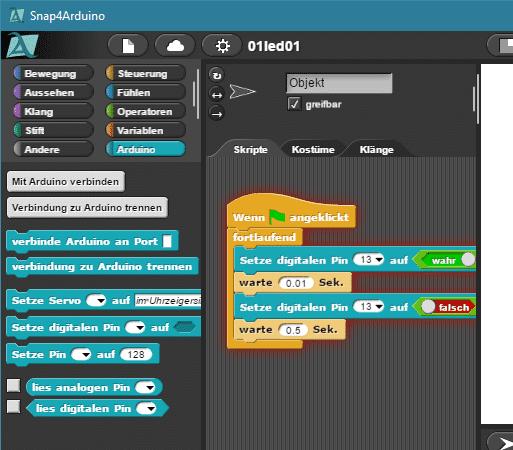 Eingedeutschte Scratch-Oberfläche in Snap4Arduino mit dem Programm für den ersten Tag.