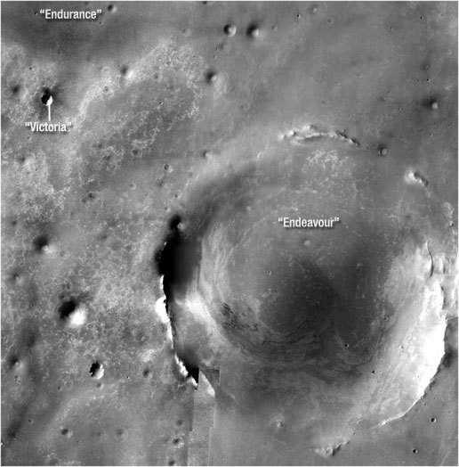 Zwölf Kilometer liegen zwischen dem Victoria-Krater und dem Endeavour-Krater