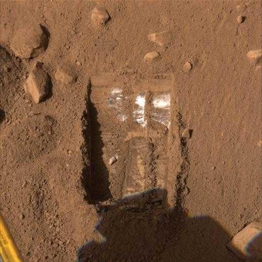 Freigelegte Eisschicht auf dem Mars