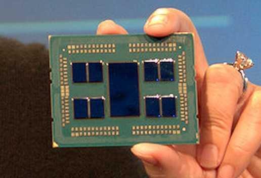 """Der AMD Epyc """"Rome"""" besteht aus acht 7-nm-Chiplets mit je vier CPU-Kernen (Zen 2) und einem zentralen I/O-Baustein aus der 14-nm-Fertigung."""