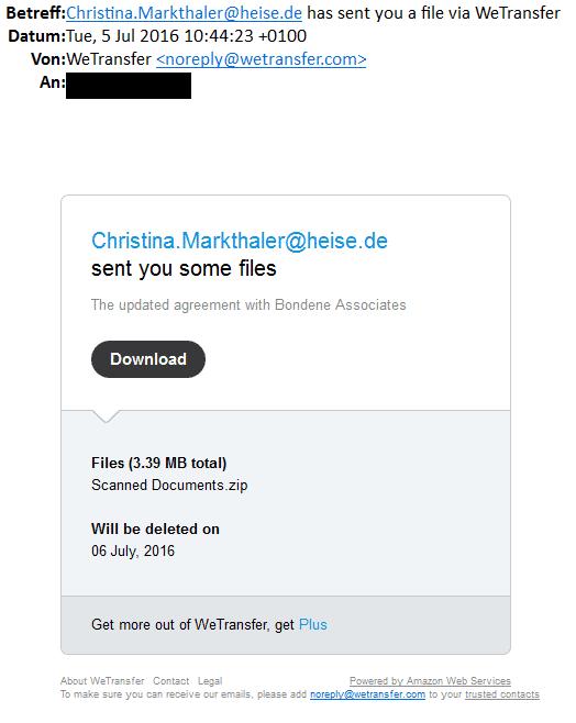 Die gefälschte E-Mail wirkt durchaus legitim. Nur arbeitet bei uns keine Christina Markthaler. Zudem verweist der Download-Link nicht auf die Domain von WeTransfer.