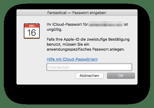 App-spezifisches Passwort Fantastical