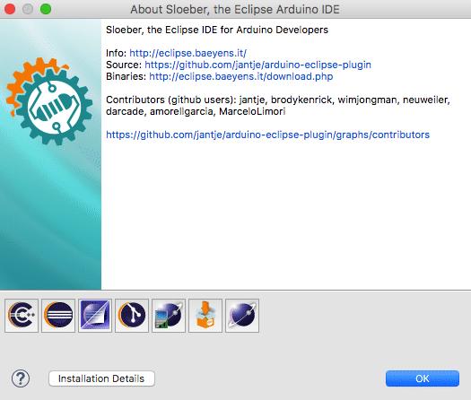 Installiertes Sloeber-Bundle (Im Beispiel: macOS)