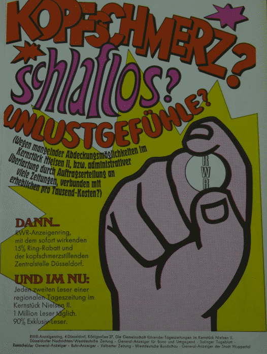 Zeitungsanzeige in POP-Manier, wirbt für Anzeigenschaltung um 1968