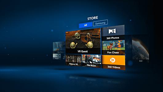 """Die Gear-VR-Apps startet man aus einem kombinierten Launcher und App-Store namens """"Oculus Home"""" -- per Kopfbewegung."""