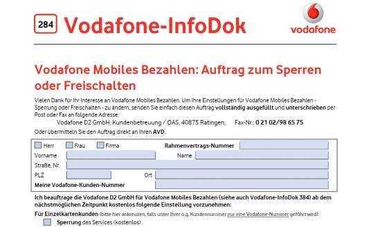 Vodafone bietet wie die Telekom und O2 die Möglichkeit, das WAP-Billing für Drittanbieter komplett zu blocken.