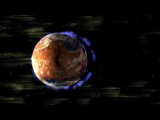 Grafische Darstellung der extrem dünnen Mars-Atmosphäre