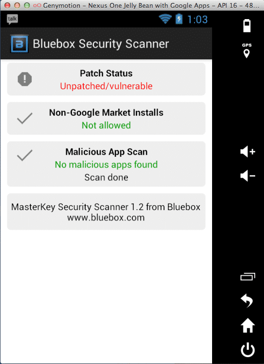 Screenshot Android-Emulator mit Scan-App