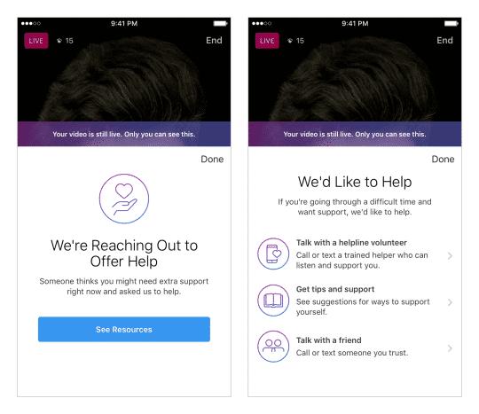 Sind bei Instagram psychisch labile Personen auf Sendung, können die Zuschauer das an die Plattform melden. Sie macht dem Betroffenen dann ein Hilfsangebot.