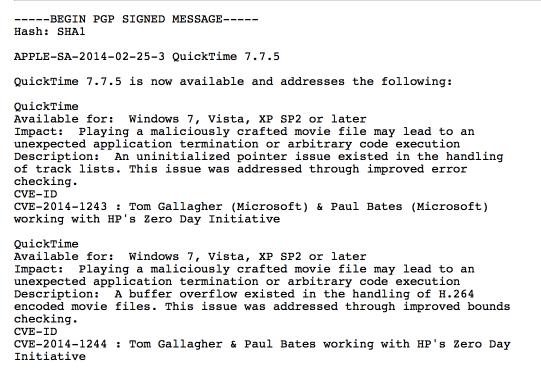 Zwei der in QuickTime 7.7.5 behobenen Fehler.