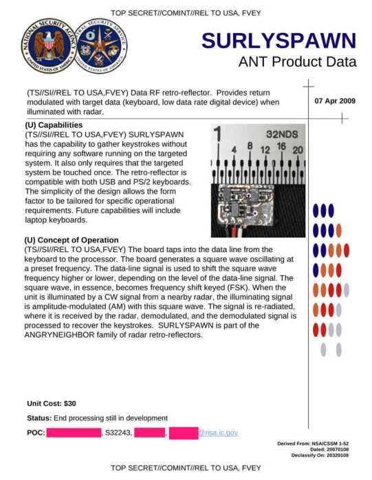 Eine NSA-Wanze für alle: Diese Seite stammt aus den Snowden-Dokumenten.
