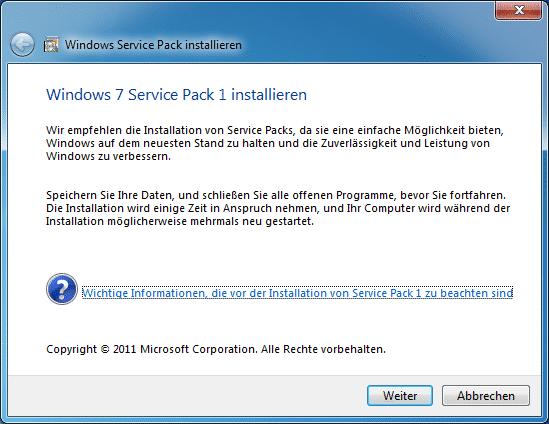 Das Service Pack 1 für Windows 7 ist fertig.