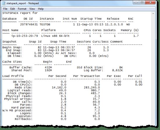 Beispiel eine Statspack-Reports