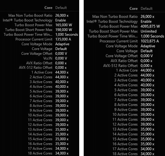 """Lädt man beim Asus Prime X299-A das XMP-Profil der DDR4-2666-DIMMs, ändert das BIOS auch die Begrenzungen für """"Turbo Boost Short Power"""" und das """"Processor Current Limit"""" (rechtes Bild)"""