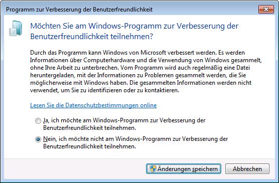 """Die Teilnahme am """"Programm zur Verbesserung der Benutzerfreundlichkeit"""" lässt sich in Windows 7 und 8 über die Einstellungen des Wartungscenter in der Systemsteuerung deaktivieren."""