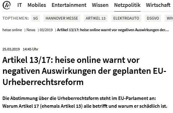 Einen Tag vor der Abstimmung wies auch die Redaktion von heise online in eigener Sache auf befürchtete negative Folgen der Urheberrechtsreform für das eigene Angebot hin.