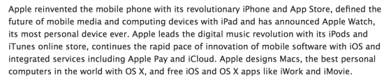 Apples neue Unternehmensbeschreibung: Mobiltelefon neu erfunden.