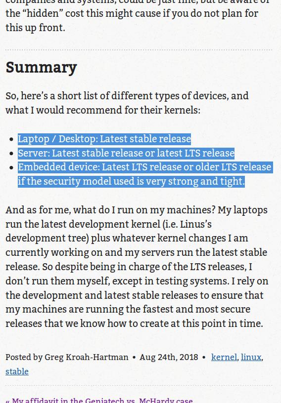 Greg Kroah-Hartman nutzt die aktuellen Stable-Kernel auch bei Servern.