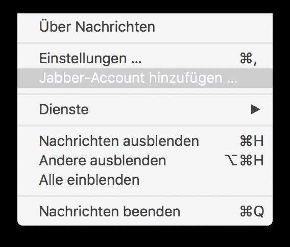 Jabber-Account hinzufügen –in macOS 10.13 noch möglich.