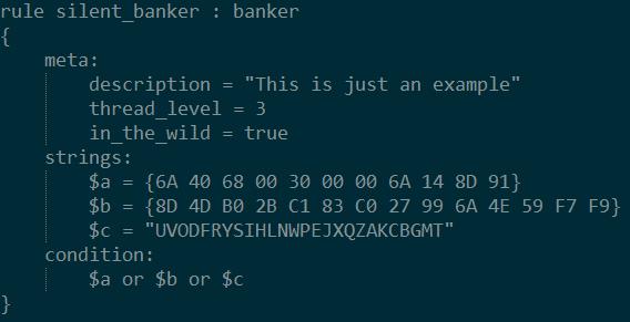 Diese einfache Beispielregel von der YARA-Projektseite demonstriert die Verknüpfung mehrerer Strings (sowohl Text als auch Hex-Sequenzen) mit Hilfe einer Condition. Die Angabe von Metadaten ist optional.