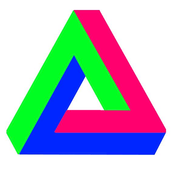 """Eschers Arbeiten waren Grundlage für das berühmte Penrose-Dreieck (auch Tribar). Tatsächlich hatte Oscar Reutersvärd es allerdings schon 1934 """"erfunden""""."""
