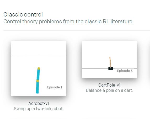 Die Aufgaben in Acrobot und CartPole im OpenAI Gym sind deutlich einfacher als die Videospiele auf ALE.