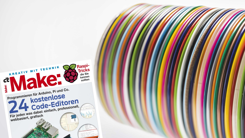 Make-Cover neben aufgewickelten Filamenten.