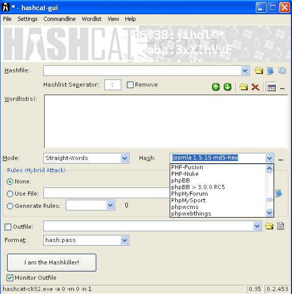 Der kostenlose Cracker Hashcat unterstützt zahlreiche Hash-Algorithmen und die bei Anwendungen benutzten Varianten.