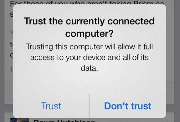 Seit iOS 7 muss der Nutzer der Verbindungsaufnahme mit einem PC erst zustimmen