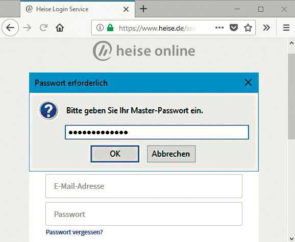 Firefox verschlüsselt seinen Passwortspeicher auf Wunsch mit einem Master-Passwort.