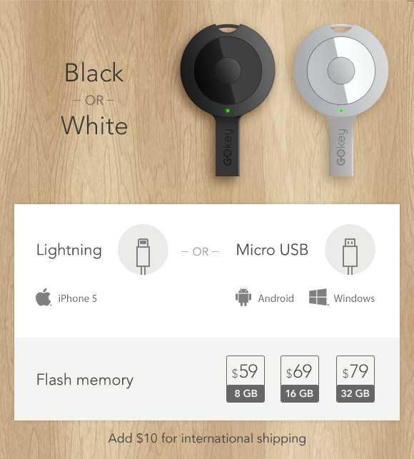 """Der Akku-""""Schlüssel"""" ist mit Lightning- oder Micro-USB-Anschluss erhältlich"""