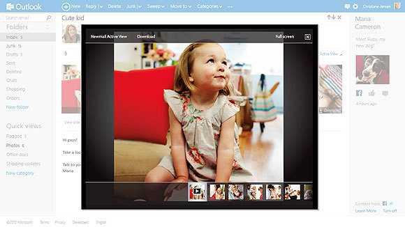 Outlook.com kann unter anderem Foto-Attachments als Slideshow anzeigen