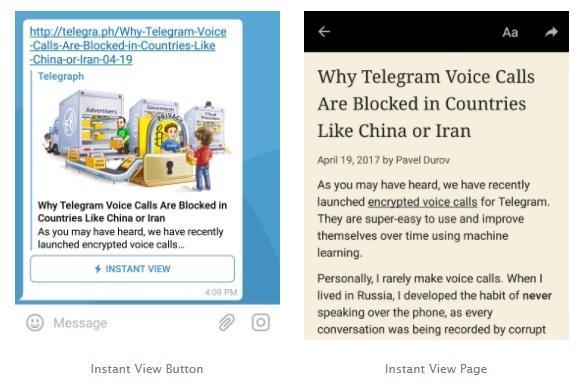 Instant View: Telegram entschlackt Websites und liefert deren Inhalte ohne lange Ladezeiten aus. Die Nutzer brauchen keinen Browser mehr öffnen.