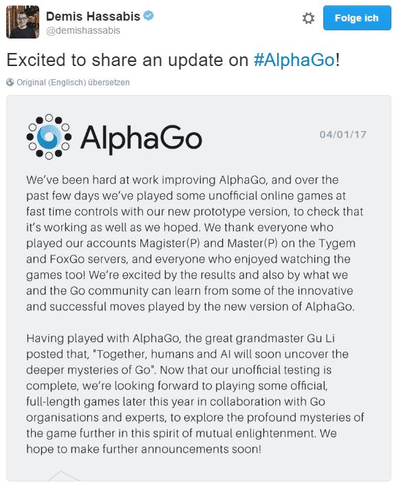 DeepMind-Chef Demis Hassabis kündigte via Twitter weitere Turnierteilnahmen von AlphaGo an.