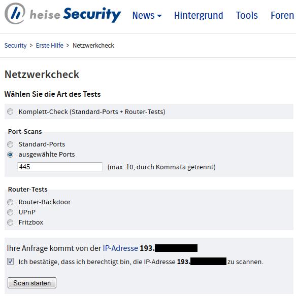 Unser Netzwerkcheck überprüft, ob unter der Internet-IP ein potenziell verwundbarer Samba-Daemon antwortet.