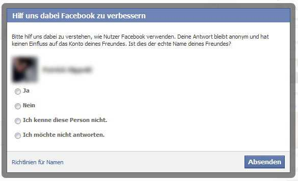Pseudonym-Abfrage bei Facebook