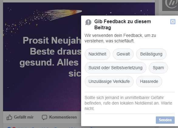 """Facebook nimmt in seinem Meldesystem nicht explizit aufs NetzDG Bezug, bietet dem Nutzer aber auch """"Hate Speech"""" als Beschwerdegrund an."""