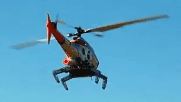 Hubschrauber mit Spinnenbeinen