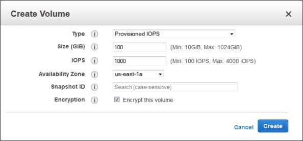 Erleichtert: Das Anlegen eines verschlüsselten EBS-Volumens ist mit einem Haken erledigt.