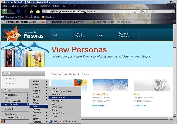 Firefox-Erweiterung Personas