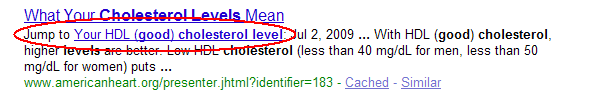 Direktverweis zu einem Seitenabschnitt, wenn dieser zu den Suchwörtern passt.