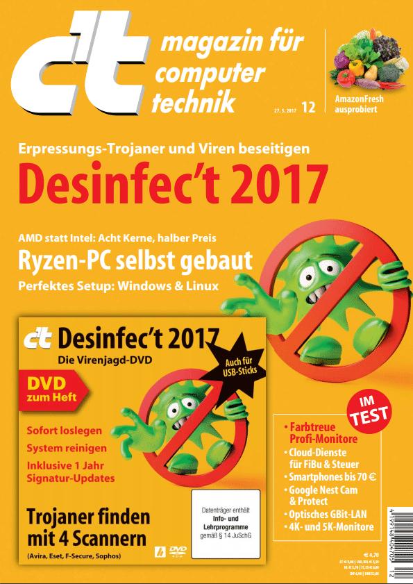 Desinfec't 2017 liegt der c't-Ausgabe 12/2017 als Heft-DVD bei. Digital-Abonenten und -Käufer können das ISO herunterladen.
