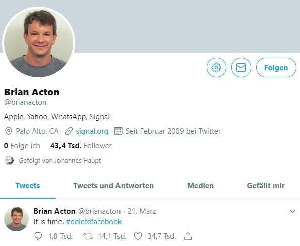 """""""Es ist Zeit"""": WhatsApp-Mitgründer Brian Acton hat keine Lust mehr auf Facebook."""