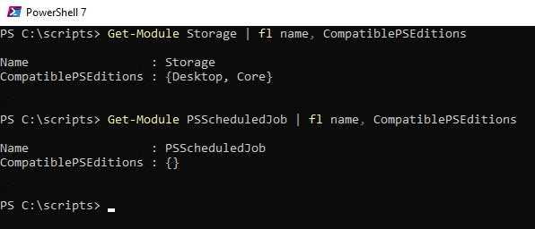 Eigenschaft CompatiblePSEditions bei einem zu PowerShell 7 kompatiblen und einem nicht kompatiblen PowerShell-Modul
