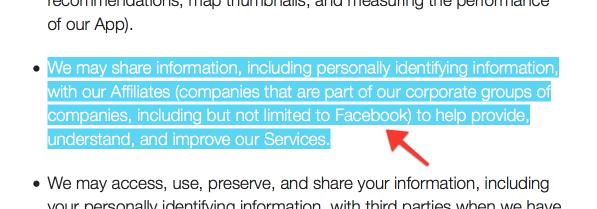 """Die neue """"Privacy Policy"""" von Moves erwähnt Facebook explizit."""